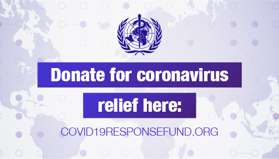 World Health Organization coronavirus donation info